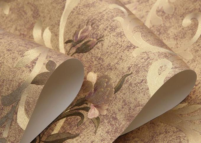 Romantic Floral Country Flower Wallpaper Removable Gold Foil Material 0.53*10M