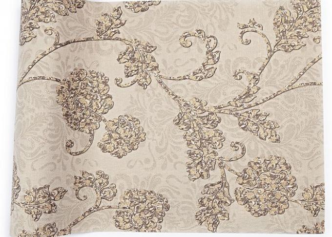 Khaki Color 3D Floral Wallpaper for Wall Decoration / PVC  Wall Coverings