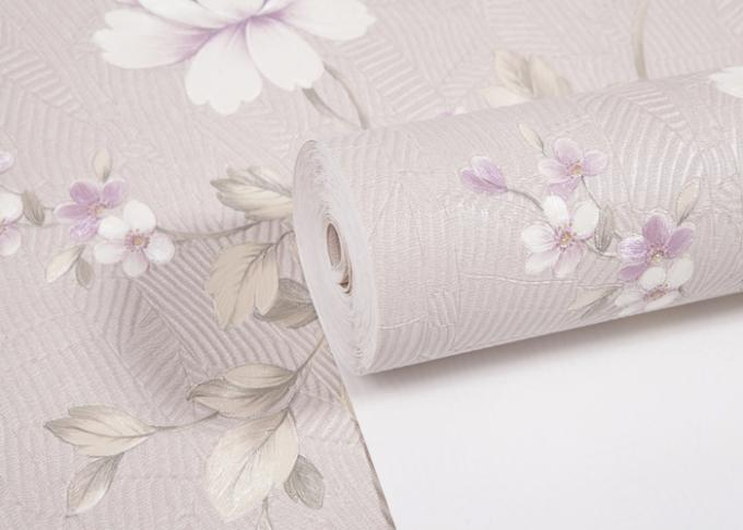 Removable Country Style Wallpaper With Embossed Floral Pattern For Sofa Backdrop