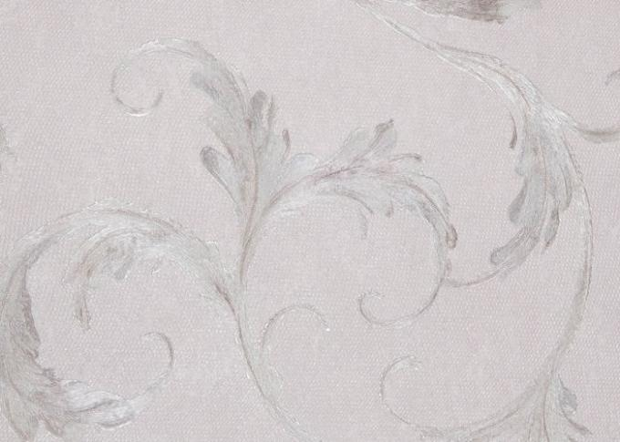 Decorative Embossed Vinyl Country Style Wallpaper with Grey Leaf Pattern , CSA Standard