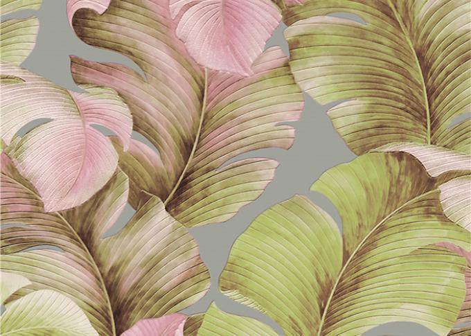 Non-Woven Solid South East Coloured Striped Wallpaper , Japanese Banana Leaf Pattern Wallpaper