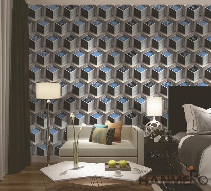 Fashion PVC 3D Home Wallpaper for Living Room Germetric Pattern Design