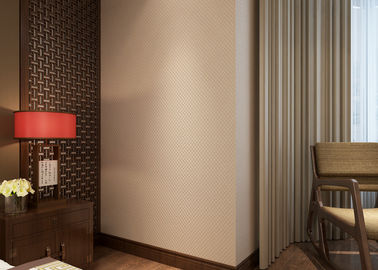 Non - woven Pure Beige Modern Removable Wallpaper for Bedroom , Hotel