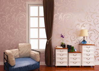 0.53*10M Embossed European Style Wallpaper with Silver Pink Leaf Pattern