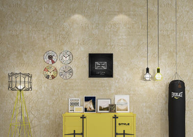 Washable Retro Vintage Wallcovering / Creamy White English Letter Wallpaper
