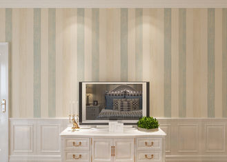 Waterproof Contemporary Wall Coverings / Non woven Vertical Striped Wallpaper
