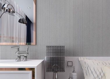 Modern Flocking Non woven Wallpaper with Simple Silver Grey Pure Color