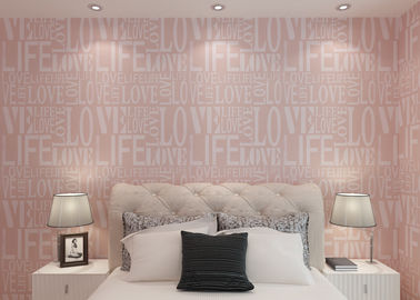 Eco- Friendly Non Woven Wallpaper With English Letters , Pink And White Patterned Wallpaper