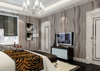 Grey Removable Wall Coverings Contemporary Bedroom Wallpaper With Curve Line Pattern