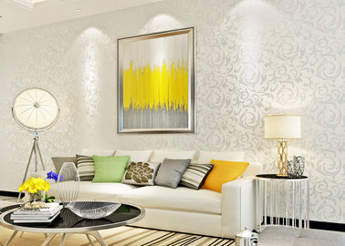 Eco - Friendly Silver Leaf Pattern Modern Removable Wallpaper for TV Background