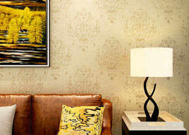 European style Non Woven Wallpaper Yellow Bronzing with High Range Chandelier Pattern