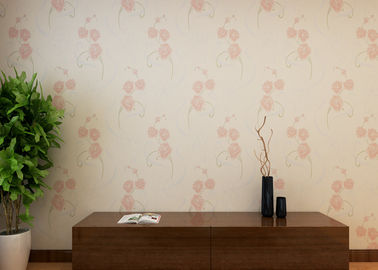 Beige Floral Pattern Country Style Wallpaper / Non Woven Wallcovering Waterproof
