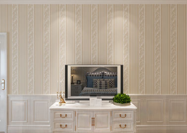 Custom Non Woven European Style Wallpaper With Beige Stripes And Floral Pattern