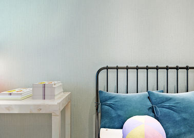Removable PVC Blue Color Modern Embossed Wallpaper For Bedding Room