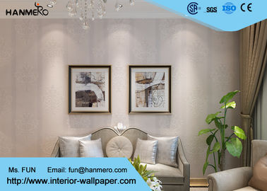 Removable embossed PVC European Style Wallpaper With Leaf Pattern