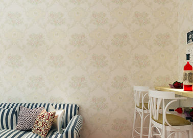 Beige Floral Pattern European Style Wallpaper / Non Woven Wallcovering 0.53*10m/ roll