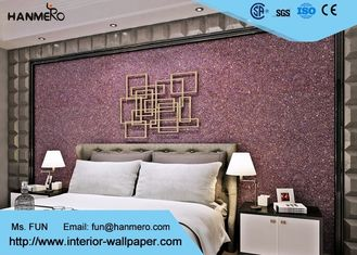 Purple Contemporary Mica Stone Wallpaper , Interior Decorating Wallpaper For Bedrooms