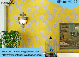 Modern Yellow Color Non Woven Wallpaper Washable For Livingroom , Size Customized