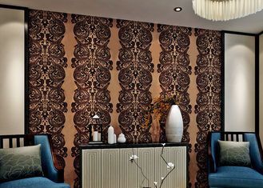 Luxury Waterproof Velvet Flock Wallpaper for Living Room , SGS CSA Certification