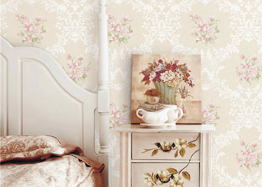PVC 3D Cheap Discount Wallpaper / Country Style Wallpaper With Rose Pattern , 0.53*10M