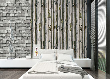 Grey birch tree home 3d wallpaper / no toxic Living Room Wallpaper Heat insulation