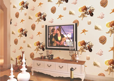 Eco-Friendly Mediterranean Style Non-Woven Wallpaper With Conch And Starfish Printing