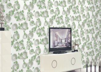 Green Plants And Round Pattern 3D Embossed Wallpaper Surface Treatment