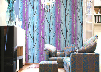 Tree Printing Room Decoration Contemporary Striped Wallpaper With PVC Material