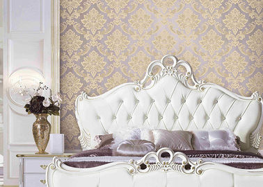 Classical Damask European Style Wallpaper 3D Effect Wall Covering For Bed / Living Room