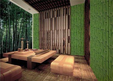 Bamboo Embossed Peelable Durable Velvet Flock Wallpaper Green / Yellow