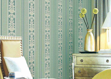 Economical Concise European Style Wallpaper , Striped Damask Embossed Wall Covering