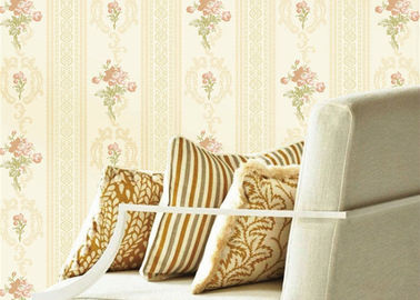 Concise European Flower Strippable Living Room Wallpaper With Vertical Striped