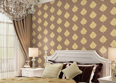Classical Damask Concise European Washable Vinyl Wallpaper With Embossed Surface