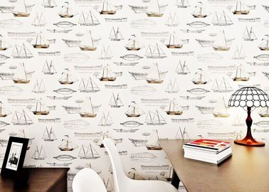White Boat Pattern Modern Removable Wallpaper , Luxury Non Woven Wallcovering