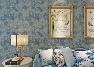 Modern 0.53*10m Living Room Embossed Blue Non-woven Wallpaper