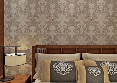Washable Victorian Style Wallpaper For Living Room , Contemporary Damask Wallpaper Mould Proof