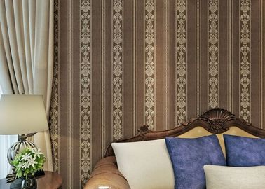 Brown European Style Wallpaper PVC Embossed Floral Home Decorative Wallcovering