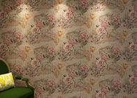 Removable Retro Vintage Wallpaper , Vinyl Floral Wallpaper with Waterproof