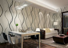 Dining Room PVC Modern Removable Wallpaper With Black Wave Printing