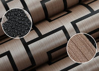 Embossed Vinyl Modern Removable Wallpaper with Coffee Geometric Lattice Pattern