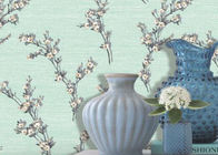 China Green Leaf Pattern Non Woven Wallcovering / Flocking Home Decorating Wallpaper company