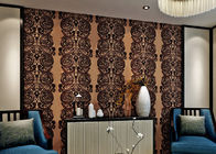 China Luxury Waterproof Velvet Flock Wallpaper for Living Room , SGS CSA Certification company