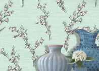 China Wide Green Leaf Pattern Dining Room Wallpaper with Non - woven Paper , Adult Style company