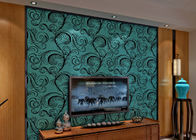 China Luxury Soundproof Velvet Flock Wallpaper / 3D Wall Covering With 0.7*10M Size , Eco Friendly company
