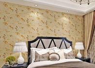 Low Flammability Floral Deep Embossed PVC Living Room Wallpaper Yellow