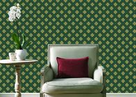 China Embossed Pvc Contemporary Wall Coverings , Four Leaf Home Floral Wallpaper For Walls company