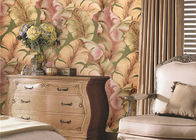 China Non-Woven Solid South East Coloured Striped Wallpaper , Japanese Banana Leaf Pattern Wallpaper factory
