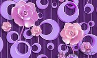 Purple Floral Pattern 3D Home Wallpaper , PVC 1.06M 3D Wallpaper For Room Wall