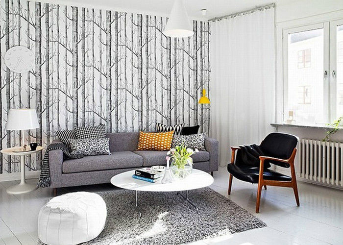Vantage Birch Tree Modern Removable Wallpaper Wallpaper For Living