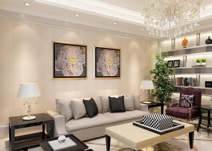 Contemporary Living Room Wallpaper Striped For Bedroom , Modern .